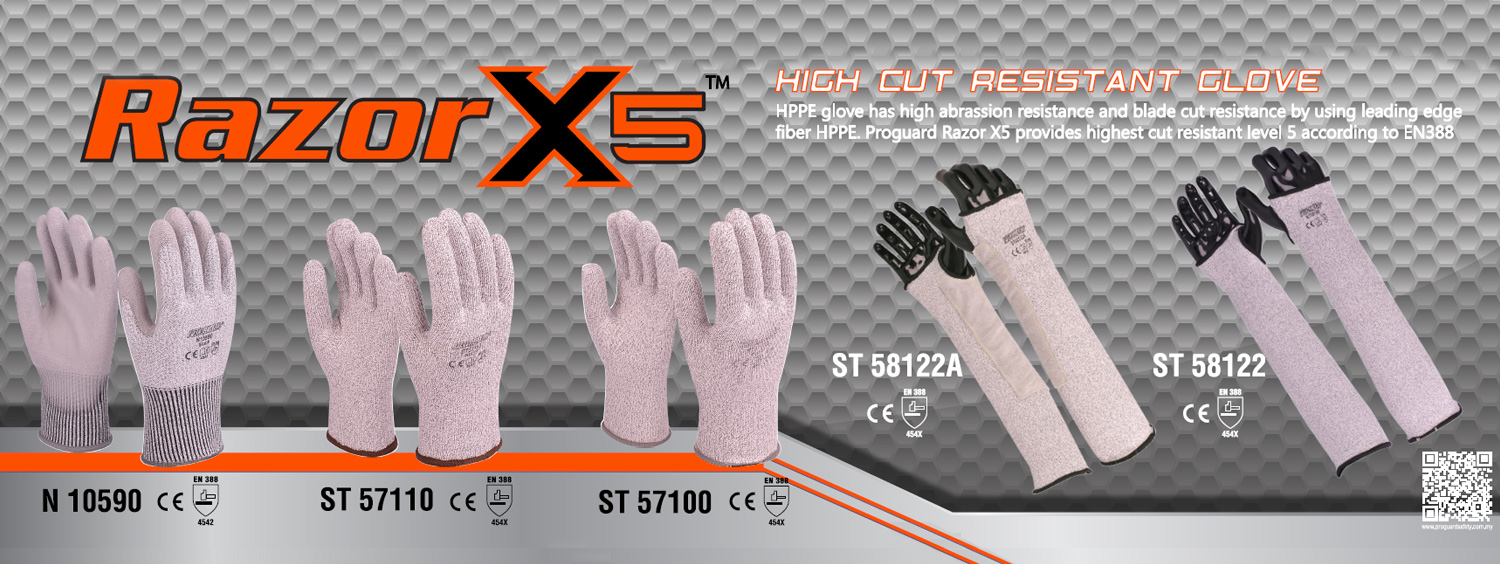 HPPE yarn cut resistant glove and Sleeve